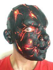 LED Quemado Bebé Cabeza Completa Látex Halloween Disfraz Adulto Terror Accesorio Negro