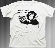 Tetley Make Your Own Tea funny Chimpanzee Monkey chimp white cotton t-shirt 9842