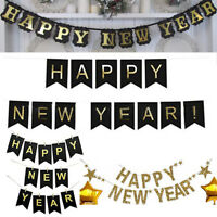 2019 Happy New Year Eve Gold Glitter Garland Banner Bunting Party Decor Hot!