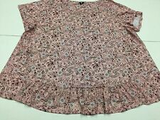 LADIES SIZE 26/28 PINK SHORT SLEEVE ROUND NECK FLORAL PATTERNED TOP 3G