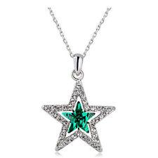 Elegant Silver & Dark Crystal Green Star Shaped Crystal Pendant Necklace N477