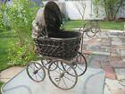 Antique Wicker Wood Canvas Metal Victorian Baby Doll Buggy Carriage Stroller