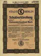 Stadtanleihe Berlin 1923 Gustav Böß 100.000 Mark City Of Berlin Loan uncancelled
