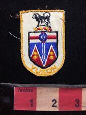Vtg. CANADA Souvenir Patch YUKON TERRITORY ~ Dog Sledding Coat Of Arms 58TT ex