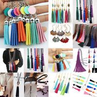 Women Ladies Fashion Long Tassel Pendant Necklace Sweater Leather Chain Jewelry