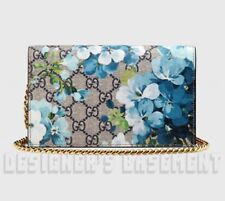 GUCCI blue & red BLOOMS GG Supreme Canvas MINI CHAIN bag wallet NWT Authent $895