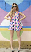 BNWT UK designer OLIVIA RUBIN KISS a line Silk mini dress in multi colour print