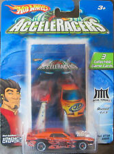 Hot Wheels AcceleRacers Stripped Metal Series Rivited 4/9 w/3 Game Cards!