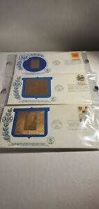 HISTORIC ENVELOPES 23K GOLD 1ST DAY ISSUE 1980 lot of 3 DC , MA 1 OF A KIND !