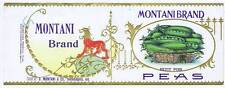 Montani Brand petit pois peas, vintage can label, indianapolis, Ind., lion