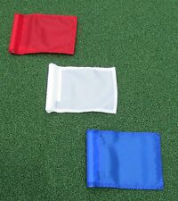 "PUTTING GREEN FLAGS -  SET OF 3 RED WHITE BLUE - SIZE 6""X8"""