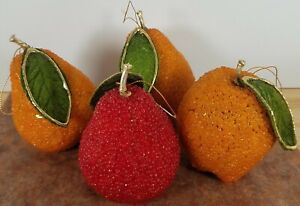 Vintage Lot of 4 Decorative Beaded Fruit with leaves Decor Mid Century Modern