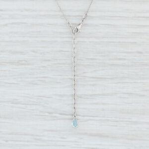 "Cable Chain Necklace Blue Topaz Drop 18k White Gold 1518"" Adjustable Teardrop"