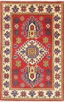 RED 3x4 Wool Chechen-Kazak Handmade Oriental Foyer Rug Geometric Pakistan Carpet