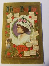 Antique HAPPY NEW YEAR Greetings POSTCARD Hourglass CALENDAR Woman FLOWERS Roses