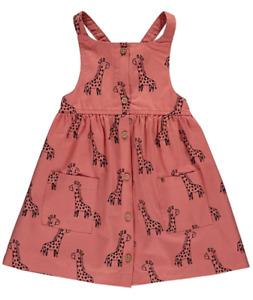 Girls GEORGE Dungaree Dress Toddler Cotton Coral Pink Cute Giraffe Pinafore NEW