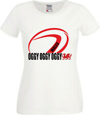 Clearance Sale Oggy Oggy Oggy Wales Rugby Contour Fit Ladies T Shirt Size 2XL