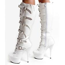 "Platform stiletto 6"" patent high heel long strap knee motorcycle boots fetish"