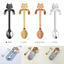 Stainless Steel Cute Cat Coffee Drink Ice Cream Spoon Tableware Kitchen Tool cup