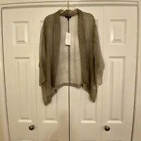 Eileen Fisher Sheer Silk Crinkle Chiffon Kimono Jacket Cardigan Small New