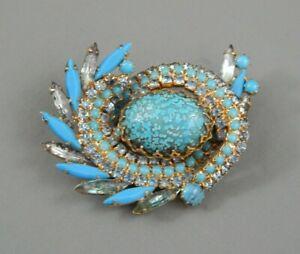 Vintage Juliana D&E Blue Navette Rhinestone Speckled Egg Glass Cab Brooch Pin