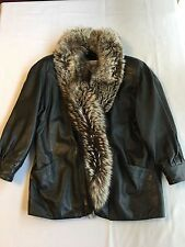 J. Percy for Marvin Richards Brown Leather Jacket w/ Full Length Fox Fur Collar