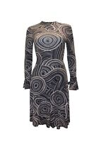 Womens Abstract Dot Pattern Fit and Flare  Long Sleeve High Neck Navy Midi Dress