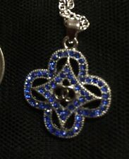$1 POST Fashion Beautiful Blue Crystal Silver Pendant & Free Chain