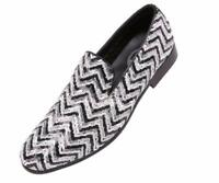 Amali Men's White/Black/Silver Sequins Smoking Slip On Dress Shoes Chevy-211