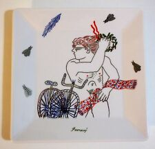"Alekos Fassianos Greek Painter - Square Dish / Ashtray - ""Winner bike"" limited"