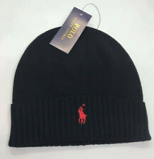 Ralph Lauren Polo Beanie Cap Hat Black Red Free Post One Size Brand New ON SALE