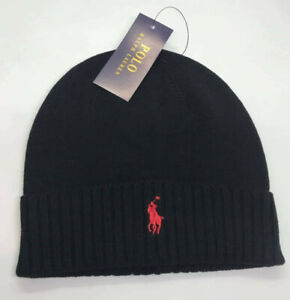 Ralph Lauren Polo Beanie Cap Hat Black Red Unisex One Size Brand New ON SALE