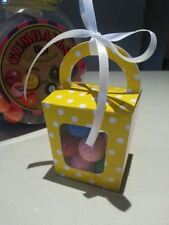 10 PK- yellow/ white poka dot party favour boxes