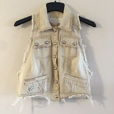 NWT MISS ME JEANS VEST TAN DESTROYED BLING DETAIL SIZE LARGE $66+ Cute!