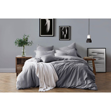 Swift Home Pre-Washed Cotton Chambray Duvet Cover and Sham Bedding Set Ash Grey