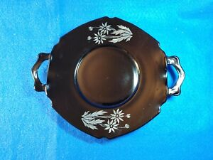 """Vintage LE SMITH Black Amethyst 2 Handled 8-1/2"""" Plate with Silver Flower Detail"""