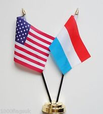 United States of America & Luxembourg Double Friendship Table Flag Set