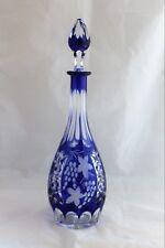 Vintage Bohemian Cut glass crystal cobalt blue large DECANTER grapes & Vine