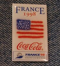 1998 World Cup Soccer~Football Flag Pin~United States~USA~Coca Cola~Coke~Sponsor
