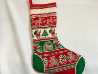 Vintage quilted Christmas stocking hand made craft holiday hearth Red Green