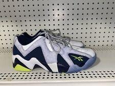 Reebok Kamikaze II Low Mens Leather Basketball Shoes Size 10 White Blue Green