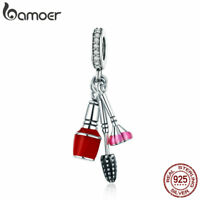 Bamoer S925 Sterling Silver charm Enamel Makeup Tools Dangle With CZ For Women