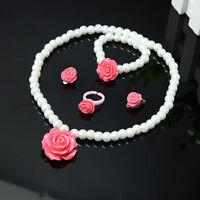 Pearl Flower Shape Necklace Bracelet Ring Ear Studs Clips Jewelry Set for Kids