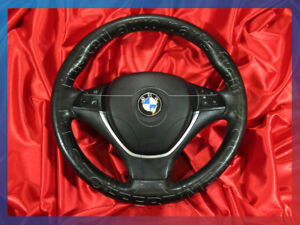 BMW E70 X5 SPORT STEERING WHEEL HEATED FUNCTION 3-SPOKE AIR HORN BAG LEATHER SET