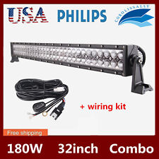 32'' 180W Philips Led Work Flood Spot Light Bar Driving 4WD SUV SLIM+Wiring Kit
