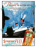 OLD 6x4 HISTORIC ADVERTISING POSTER SEAGRAMS CANADIAN WHISKEY c1940s 2