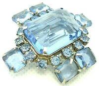 VINTAGE 1950s BROOCH PIN BLUE ACRYLIC PRONG SET RHINESTONES SILVER TONE METAL
