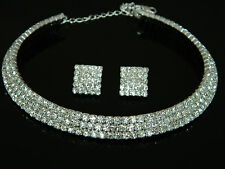 Wedding Bridal Jewellery Set Diamond Shine Crystal Choker & Studs Earrings S111