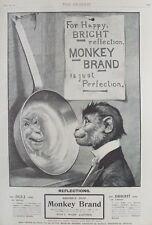 OLD ADVERT MONKEY BRAND BROOKES SOAP HOUSEHOLD CLEANER c1900 VINTAGE PRINT