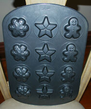 Christmas Holiday WILTON Cookie Muffin Mold Pan Gingerbread Man Star Snowflakes